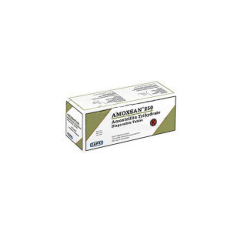Amoxsan dispersible 250mg tab 100s 1