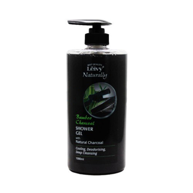 Leivy naturally bamboo charcoal shower gel with natural charcoal 1000 ml 1